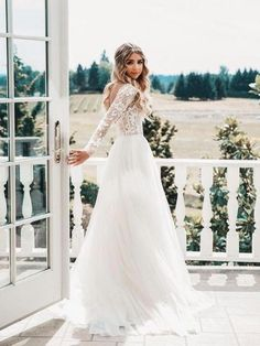 498eda2a146 Long Sleeve Ivory Tulle See Through Wedding Dresses Backless Country  Wedding Dress