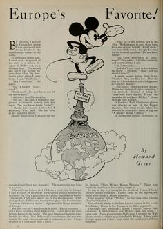 Mickey Mouse - Europe's Favorite! (by Howard Green; Photoplay magazine; 1930-11)