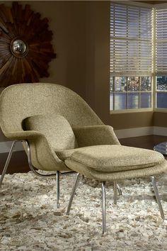 W Lounge Chair and Ottoman Set - Oatmeal