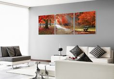 The best of Autumn captured and shrouded in filtered sulnlight with sunburnt leaves surrounding. $220 Available in 3 sizes. Elementem Photography, triptych, fall, autumn, forest, bench, sunlight, red