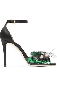 Jimmy Choo - Annie Sequin And Feather-embellished Satin Sandals - Black