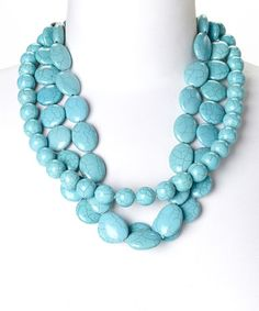 Loving this Turquoise Triple-Strand Beaded Necklace on #zulily! #zulilyfinds