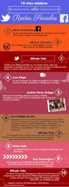 10 citas célebres sobre #RedesSociales #infografia #SocialMedia