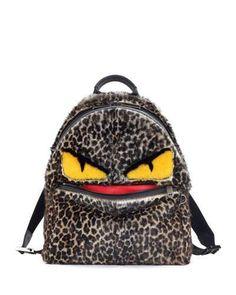 Fendi Jaguar-Print Fur Monster Backpack f7b48f990fbeb
