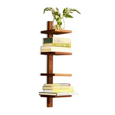 This stylish teak column shelf looks good in your small bedroom, living room, or even bathroom! It's unobtrusively minimalist but has plenty of character.