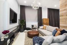 Loveable: During the competition, judge Shaynna praised their overall colour palette of their apartment working flawlessly through all of their rooms Freedom Furniture, Home Furniture, Indoor Outdoor Furniture, Cozy Living, Other Rooms, Luxury Apartments, Living Room Designs, Lounge, Interior