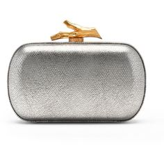 DIANE VON FURSTENBERG Lytton Metallic Leather Small Clutch (1.040 BRL) ❤ liked on Polyvore featuring bags, handbags, clutches, silver, diane von furstenberg, metallic leather handbags, leather clasp purse, diane von furstenberg purses and leather purses