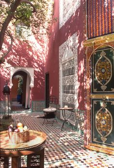 Sun-dappled courtyard at Riad Kaiss in Marrakech, Morocco. Set on a side street and an walk from lively Jemaa el-Fnaa square, this elegant hotel in a restored traditional Moroccan townhouse is 15 minutes on foot from Koutoubia Mosque. Moroccan Design, Moroccan Decor, Moroccan Style, Moroccan Bedroom, Moroccan Lanterns, Moroccan Interiors, Design Marocain, Style Marocain, Marrakech Morocco