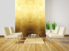 Gold leaf wall panels - eclectic - screens and wall dividers - other metro - Rêve d'Or Gold Painted Walls, Golden Wall, Metal Wall Panel, Bathroom Cladding, Gold Leaf Art, Feuille D'or, Interior Design Courses, Marble Wall, Gold Marble