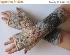 Fingerless Gloves Beige Brown Gray wrist warmers Knit