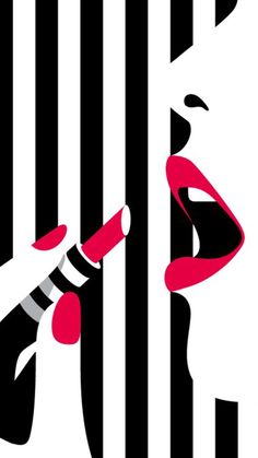 Profile of a girl putting on lipstick & black & White striped background art