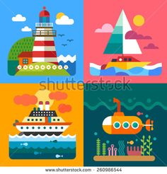 Different sea landscapes: lighthouse, island, ships and underwater world. Vector flat  illustrations - stock vector