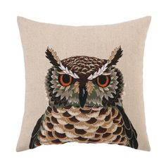 Linen-blend pillow with an owl motif.   Product: PillowConstruction Material: Linen-blend cover and feather down...