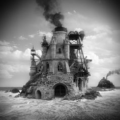 Discovery of the American artist Jim Kazanjian , based in Portland. Photo-manipulations digital black and white very sober exploring the surreal side of space and architecture. 3d Street Art, Photomontage, Collage Architecture, Architecture Images, Beautiful Architecture, Beautiful Buildings, Design Spartan, Crazy Houses, Montage Photo