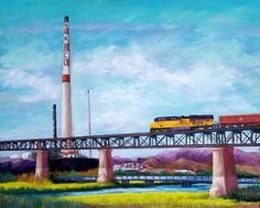 Asarco and the RR Bridge Pastel  - Asarco and the RR Bridge Fine Art Print
