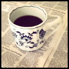 Coffee 365:  Some things I like about summer -- sleeping in and getting to read the paper while having my coffee!  The coffee is Seattle's Best Level 4 and the cup is Blue Danube. Happy Summer!