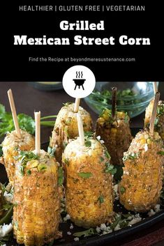 Grilled Mexican Street Corn (Elote) - A creamy, yogurt/mayo based sauce with anc. Tostadas, Tacos, Mexican Food Recipes, Real Food Recipes, Vegetarian Recipes, Ethnic Recipes, Yummy Recipes, Burritos, Enchiladas