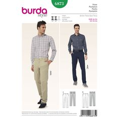 pants with popular flat front, slant pockets, back pockets and small coin pocket, in blue or beige or trendy seasonal colors and of cotton. the forked rear waistband of a requires little more sewing experience