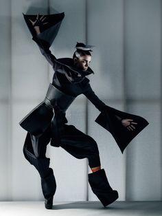 Gareth Pugh top, collar and boots, Issey Miyake pants