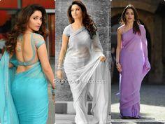 Tamanna in Plain Sarees~Latest Blouse Designs~South India Fashion