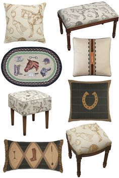 8 unexpected equestrian pieces from Wayfair. Dress up your home with wonderful benches and throw pillows with an equestrian touch. Equestrian Bedroom, Equestrian Decor, Western Decor, Equestrian Style, Western Rooms, Equestrian Fashion, Bar Furniture, House Painting, Home Decor Accessories