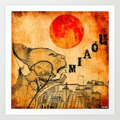 Le chat de Paris  Art Print by ganech - $17.68