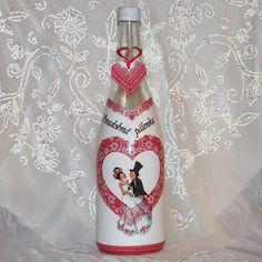 Darčeková fľaša pre mladomanželov Svadobná srdiečková pálenka