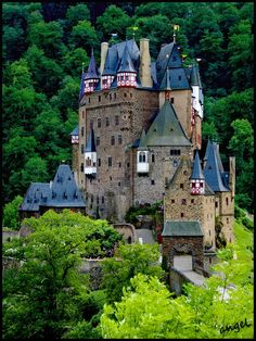 Adorable Eltz Castle near the Mosel River in Germany as photographed by Angelika (Angelofruhr) of Germany. This is a castle that fairy tales are made of.