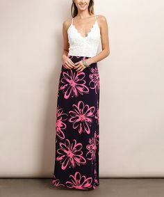 Look at this #zulilyfind! Navy & Hot Pink Floral Cross-Strap Back Maxi Dress #zulilyfinds