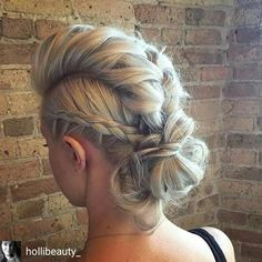 50 Braided Mohawk Hairstyles Are you searching for a hairstyle that's classy yet edgy, feminine yet sassy, and smart yet playful all at once? Look no further – the braided mohawk is everything you have been dreaming of. Braided Hairstyles Updo, Faux Hawk Hairstyles, Up Hairstyles, Pretty Hairstyles, Wedding Hairstyles, Faux Hawk Updo, Mohawk Updo, Braided Faux Hawk, Faux Mohawk