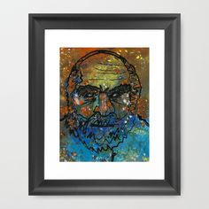 The Hermit Framed Art Print by Mike Brennan - $35.00 #art #hermit #man #beard #line #contour #drawing #color