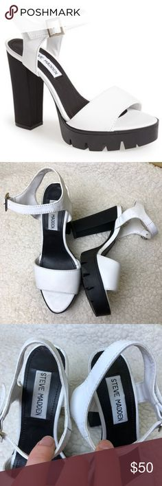 5501facafbc6 Steve Madden Traviss Leather Platform Heel Sandal In amazing and clean  condition Steve Madden Shoes Sandals