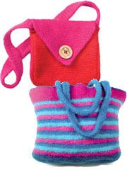 """simple Tunisian stitches, a size P Easy Tunisian hook and feltable wool yarn. Sassy Stripes is about 13"""" x 11"""" plus handles, and Messenger Bag is about 9"""" x 9"""" x 2"""" plus handles-  Must try. I can to tunisian crochet- I like the felted look of these."""
