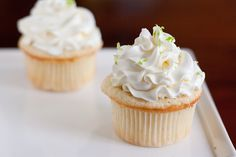 Margarita cupcakes made of lime cupcakes and tequila-lime buttercream
