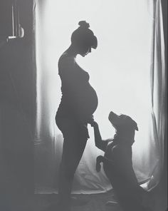 My 9 year old American Bulldog/Pitbull mix and my pregnant wife // silhouette black and white photography // pregnancy announce mm ideas