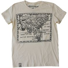 Irontree Clothing Women's Treasure Map T-Shirt ($29) ❤ liked on Polyvore featuring tops, t-shirts, form fitting tops and form fitting t shirts