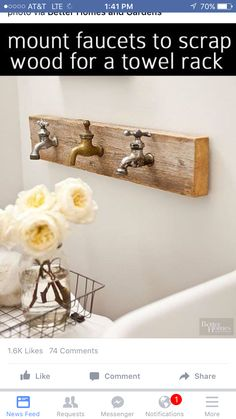 Rustic bathroom decor should look as if it has been handled by many people over a long period of time. This room-appropriate artwork features three vintage faucets that double as towel hooks when needed. Reno, Barn Wood, Decoration, Home Projects, Farmhouse Decor, Repurposed, Diy Home Decor, Sweet Home, Interior Design