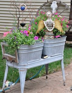 I have one of these old galvanized tubs and use it for potting plants