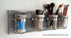 Mason Jar Decor: Gray Distressed Wood Mason Jar Organizer; 4 Jars; Shabby Rustic Decor; Bathroom Caddy; Office Caddy; Custom orders welcome!