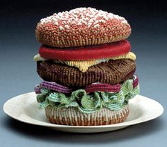 Knitted Food 3 - The knitted delectables series by artist Ed Bing Lee is the perfect gift to torture that dieting friend of yours. The knitted food items include a. Amigurumi Animals, Knitted Animals, Amigurumi Toys, Macrame Hanging Planter, Hanging Planters, Knit Art, Food Patterns, Crochet Food, Crochet Art
