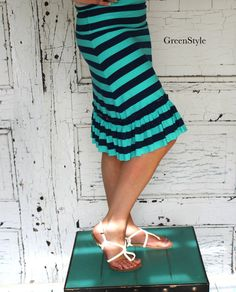 Nautical Navy and Mint Green Ruffled A line Knit  by Gogreenstyle, $42.00