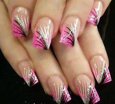 Black & Pink Gel Nail Art & Ideas 2017 - Nail Design Source by Pink Gel Nails, Hot Nails, Fancy Nails, Gel Nail Art, Trendy Nails, Black Nails, Nail Polish, Pastel Nails, Solar Nail Designs