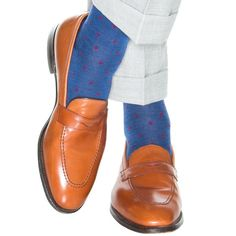 952467f0891 Dapper Classics Blue Melange with Red Dot Sock Fine Merino Wool Linked Toe