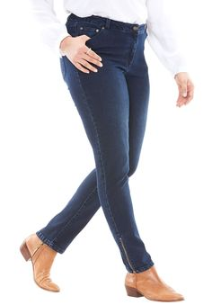Tall Ankle-zip Skinny Stretch Jean - Women's Plus Size Clothing