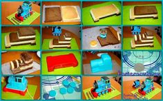 Thomas the train cake Thomas Birthday Parties, 4th Birthday Cakes, Fondant Cakes, Cupcake Cakes, Cupcakes, Thomas The Tank Cake, Thomas And Friends Cake, Thomas Cakes, Cake Templates