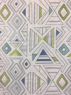 This fabric has an embroidered geometric pattern with a handcrafted look and feel. The blue and green shapes add a fun pop of color, great for window treatments, window seat, pillows and much more. Our talented team would be happy to help you with your home decor project! Geometric Fabric, Geometric Pillow, Modern Fabric, Window Seat Cushions, Drapery Panels, Home Decor Fabric, Fabric Samples, Custom Pillows, Pillow Covers