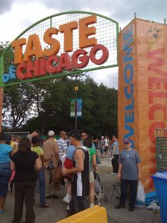 Taste of Chicago :)  Our annual Food Fest draws millions each summer. People get to sample food from a multitude of vendors, enjoy outdoor concerts and just enjoy summer in Chicago