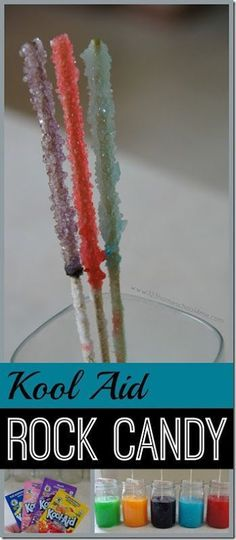 Kool Aid Rock Candy Science Experiment - love this twist using kool aid for some. - Kool Aid Rock Candy Science Experiment – love this twist using kool aid for some colorful yummy c - Summer Science, Preschool Science, Summer Activities For Kids, Science Experiments Kids, Science For Kids, Science Activities, Summer Kids, Toddler Preschool, Camping Activities