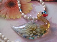Swan Lampwork Glass Pendant Necklace   Gold CIJ by cynhumphrey, $18.99
