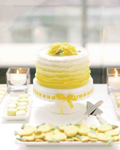 A Modern Yellow-and-White Wedding in Toronto | Martha Stewart Weddings - Amy and Dan let their four-year-old nephew help them cut the small lemon cake that anchored the dessert buffet.